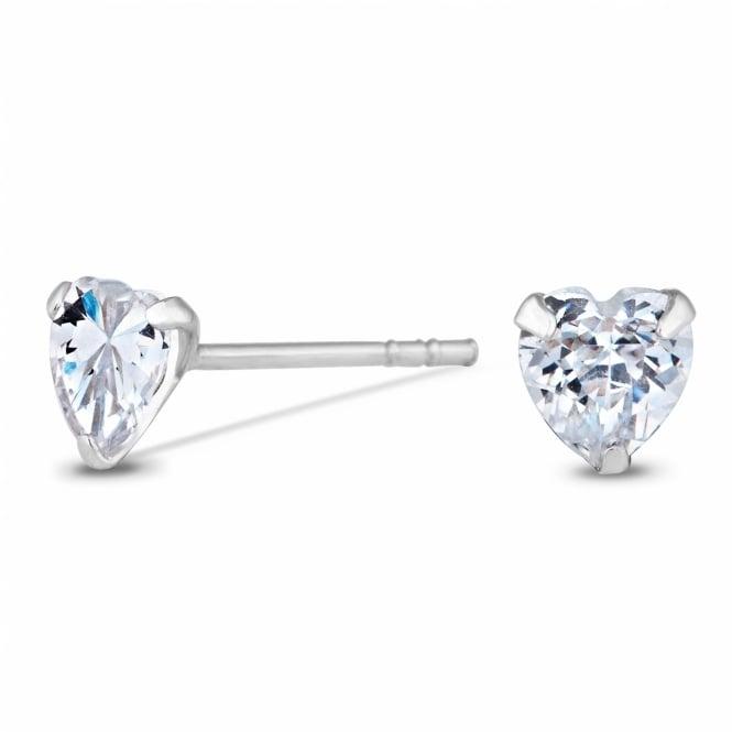 Sterling Silver 925 Cubic Zirconia 5mm Heart Stud Earring