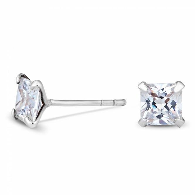 Sterling Silver 925 Cubic Zirconia 5mm Square Stud