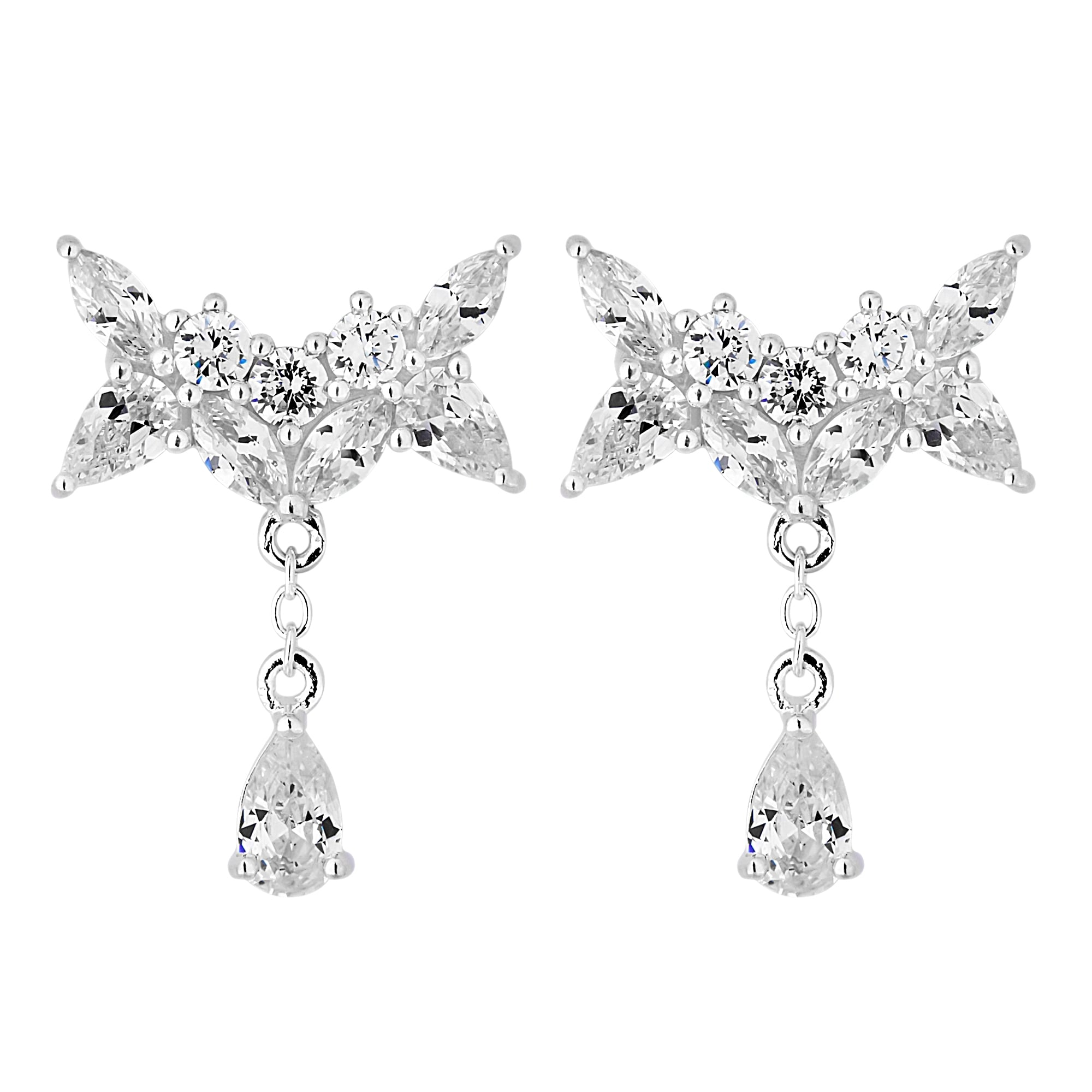 44b3d0e9fc72b Simply Silver Sterling Silver 925 Cubic Zirconia Bow Droplet Earring ...