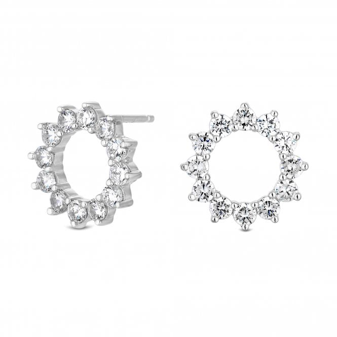 Image of Sterling Silver 925 Cubic Zirconia Claw Set Open Stud