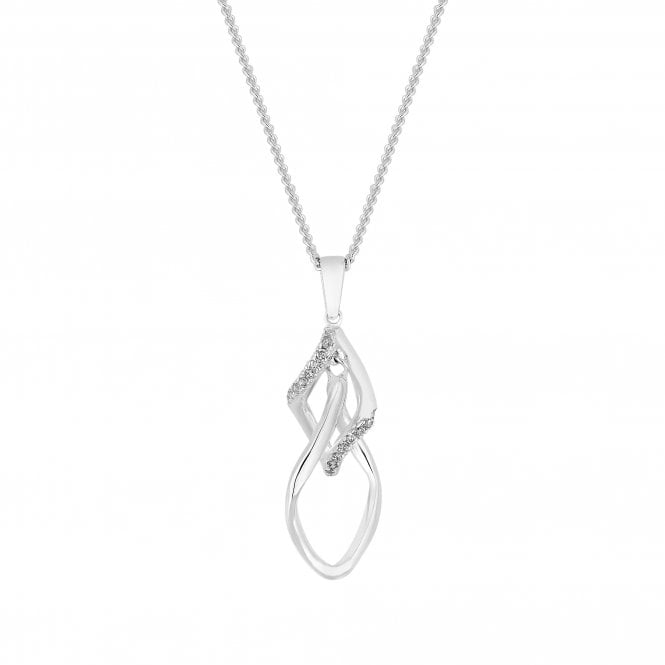 Image of Sterling Silver 925 Cubic Zirconia Double Twist Open Necklace