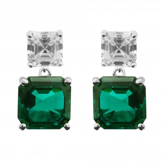 Sterling Silver 925 Cubic Zirconia Emerald Asscher Cut Drop Earrings