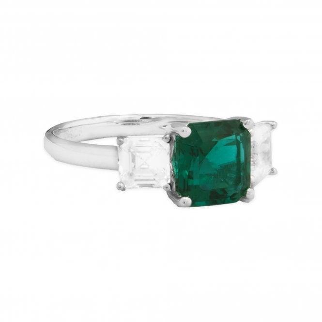Sterling Silver 925 Cubic Zirconia Emerald Asscher Cut Ring - SMALL