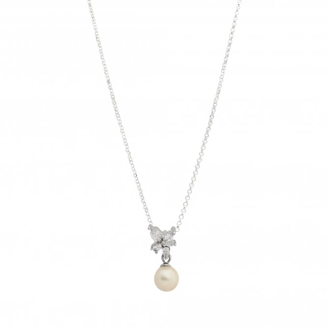 Jewellery|Women's Sterling Silver 925 Cubic Zirconia Freshwater Pearl Floral Necklace