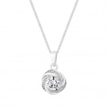 6943fe8cf95 Sterling Silver 925 Cubic Zirconia Knot Pendant Necklace