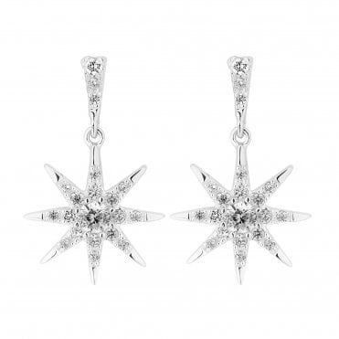 8edebe953 Sterling Silver 925 Cubic Zirconia North Star Drop Earring