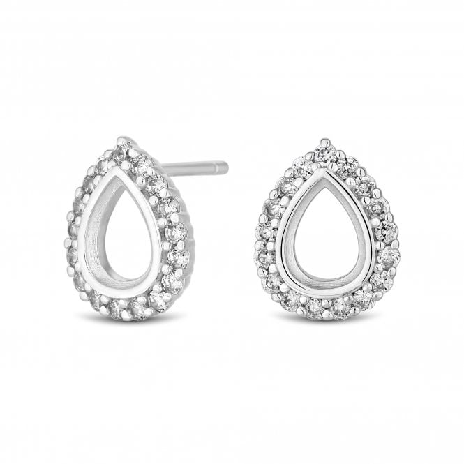 Image of Sterling Silver 925 Cubic Zirconia Open Pear Stud Earring