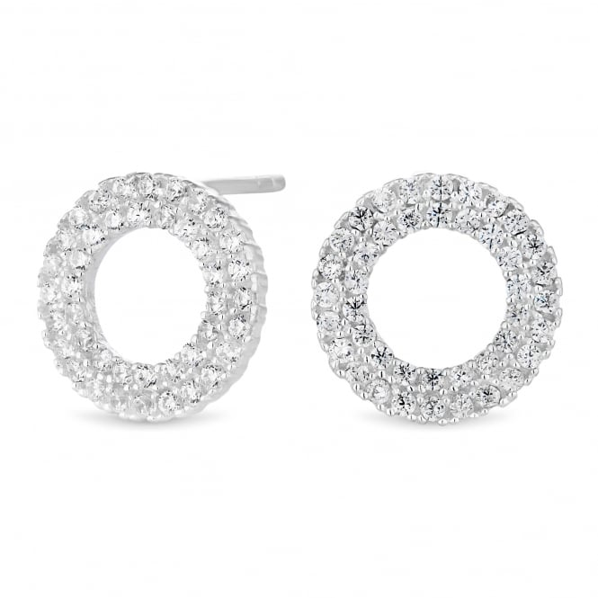 Sterling Silver 925 Cubic Zirconia Pave Circle Stud Earring