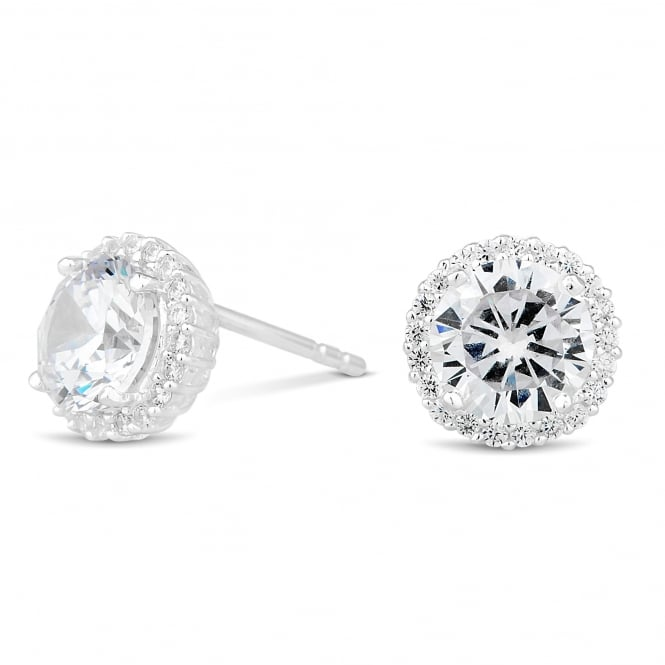 Sterling Silver 925 Cubic Zirconia Pave Surround Stud Earring