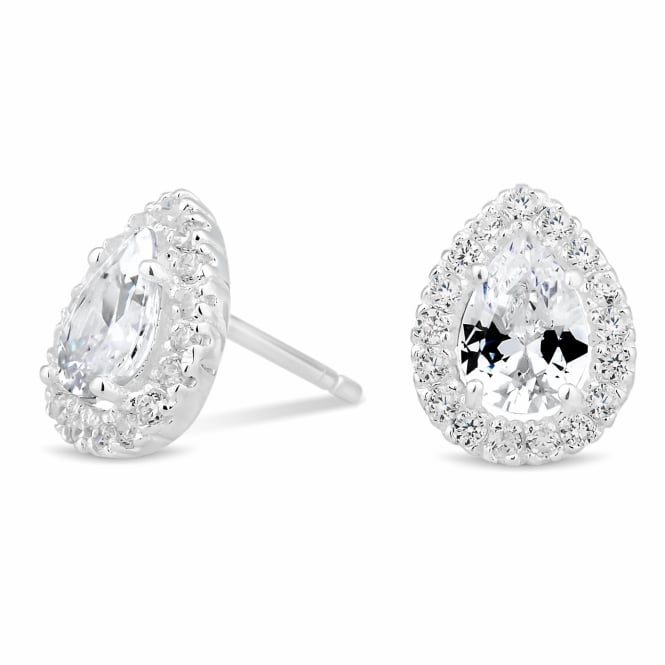 Sterling Silver 925 Cubic Zirconia Peardrop Cluster Stud Earring
