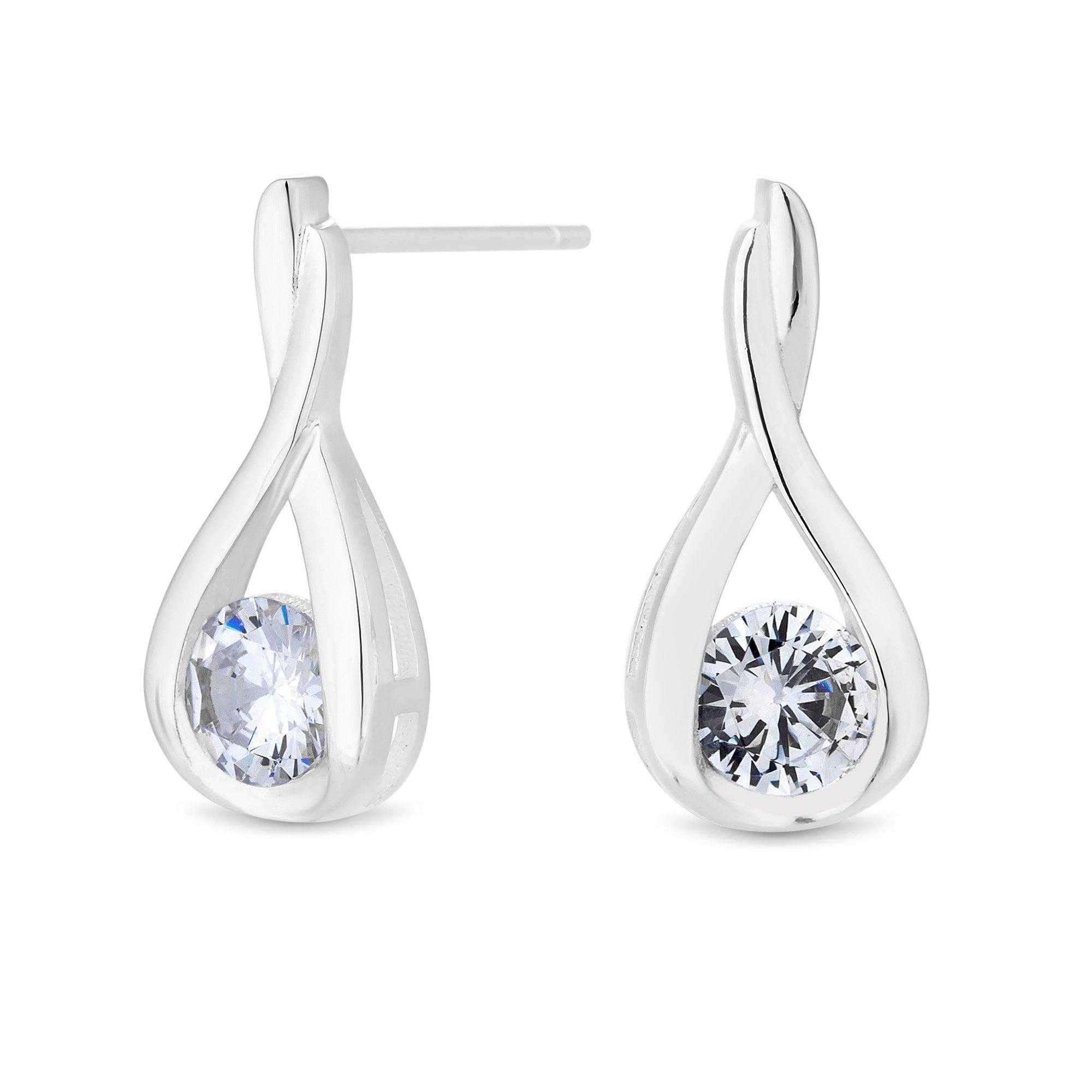 3ebd8f5218881 Sterling Silver 925 Cubic Zirconia Solitaire Twist Drop Earring