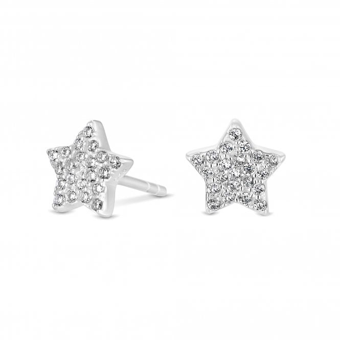 Image of Sterling Silver 925 Cubic Zirconia Star Stud Earrings