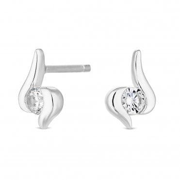 0600e5c8e Sterling Silver 925 Cubic Zirconia Swirl Drop Earring