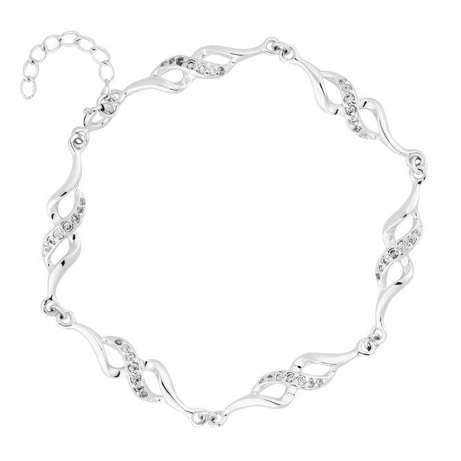 Sterling Silver 925 Cubic Zirconia Twist Link Bracelet