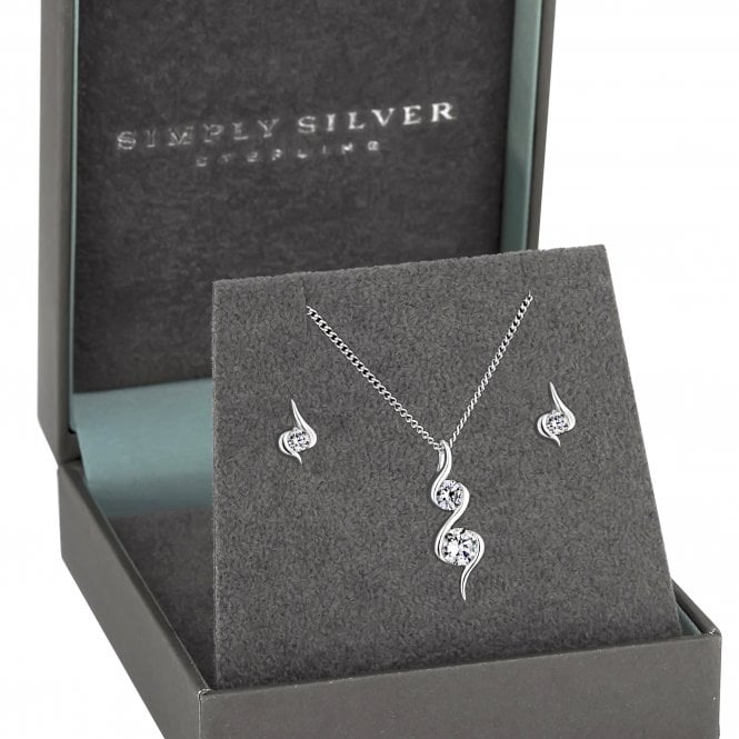 Sterling Silver 925 Cubic Zirconia Wrapped In Love Set - Gift Boxed