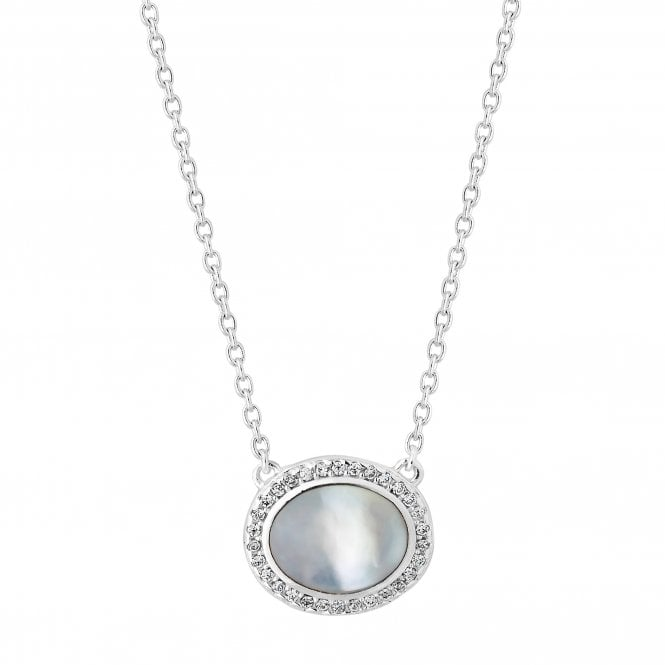 Jewellery Sterling Silver 925 Mother Of Pearl Cubic Zirconia Halo Necklace