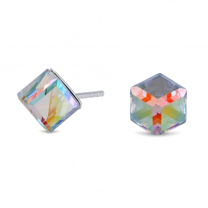 10970f6940199 Sterling Silver 925 Multi Coloured Cube Stud Earring Embellished With  Swarovski® Crystals