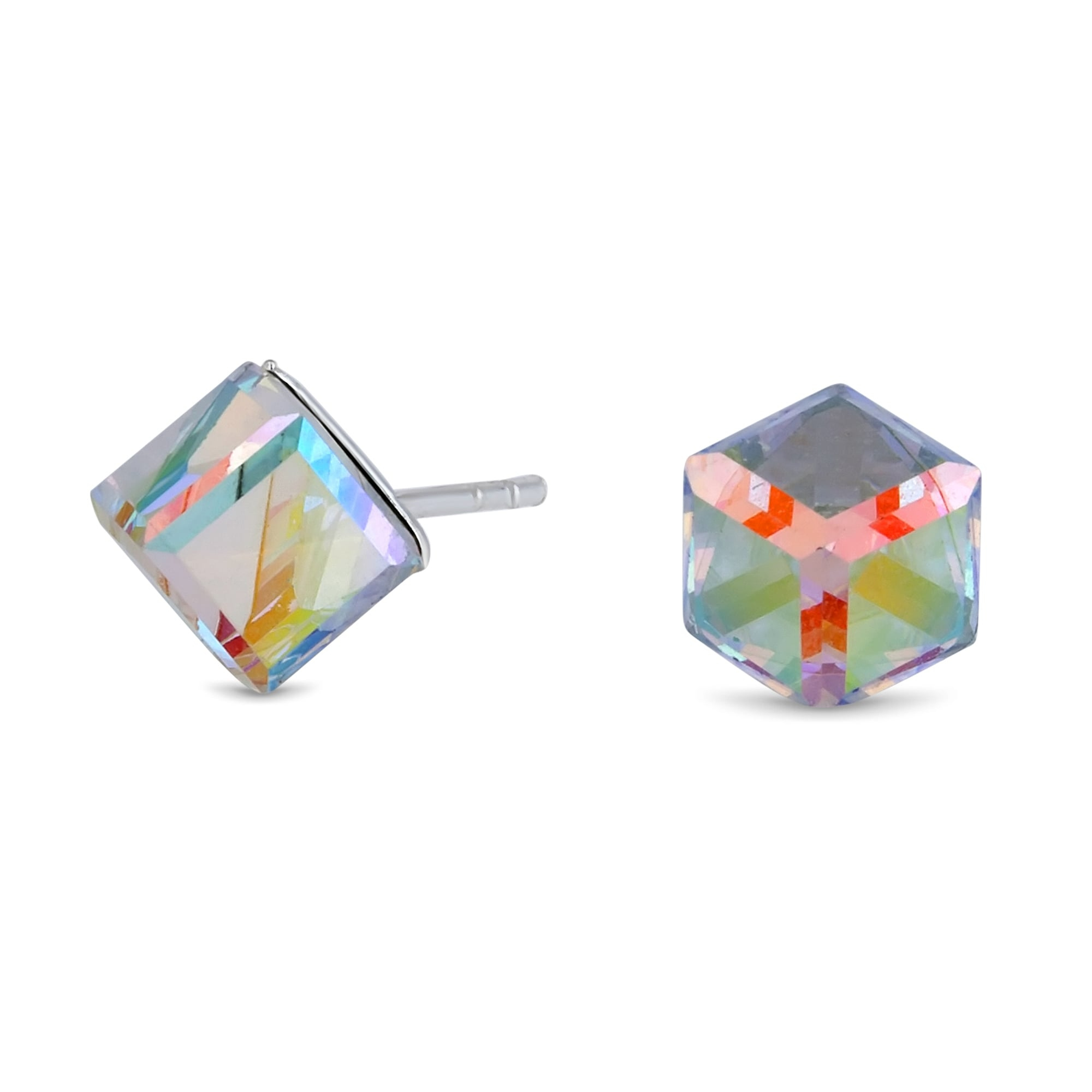 bd95ed6ba Simply Silver Sterling Silver 925 Multi Coloured Cube Stud Earring  Embellished With Swarovski® Crystals