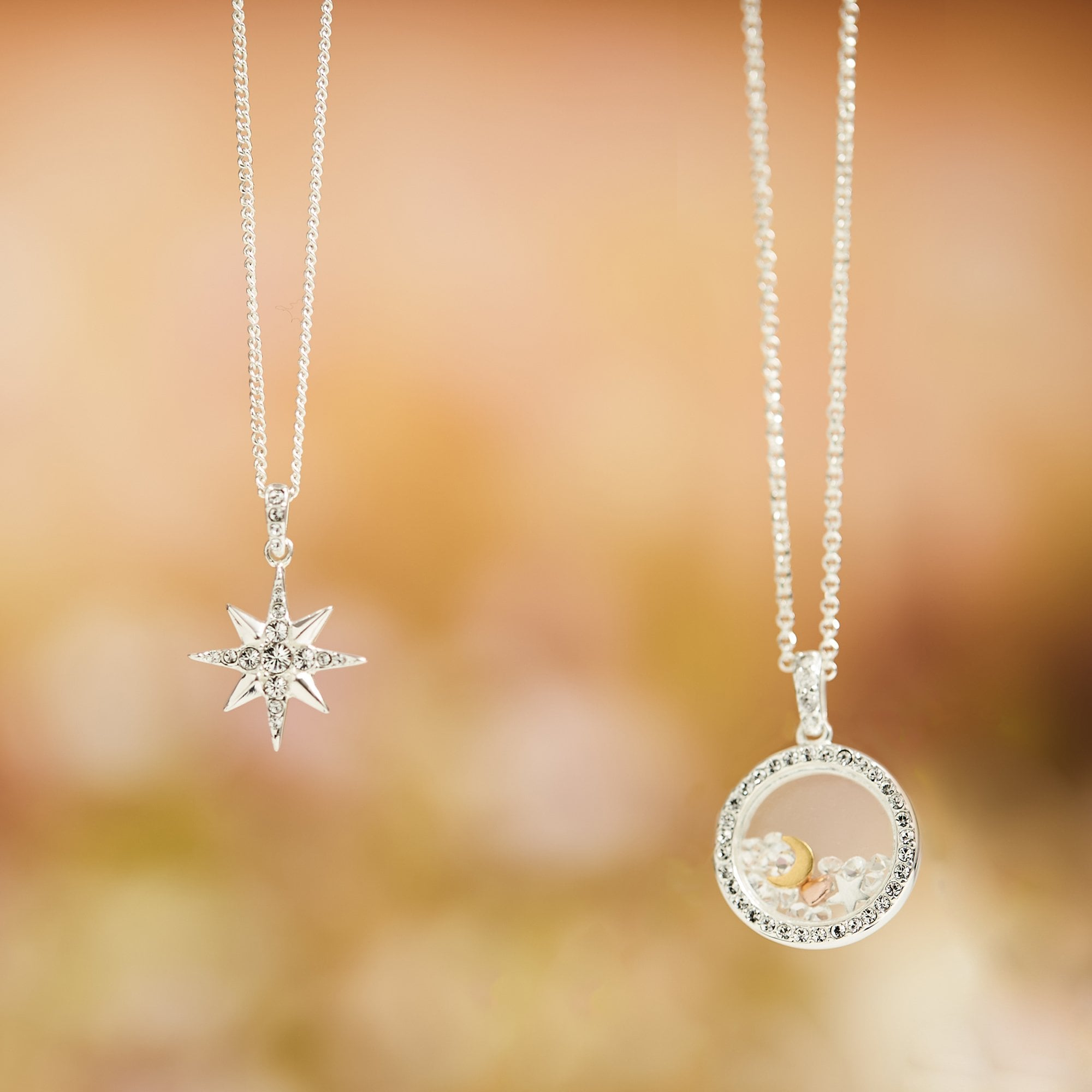 Sterling Silver Pole Star Silver Necklace/_North Star/_Fushia Zircon