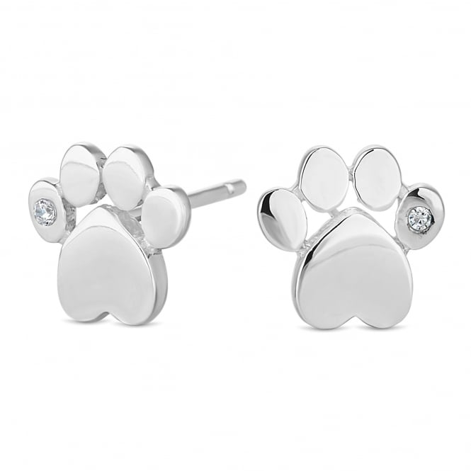 Sterling Silver 925 Paw Print Stud Earring