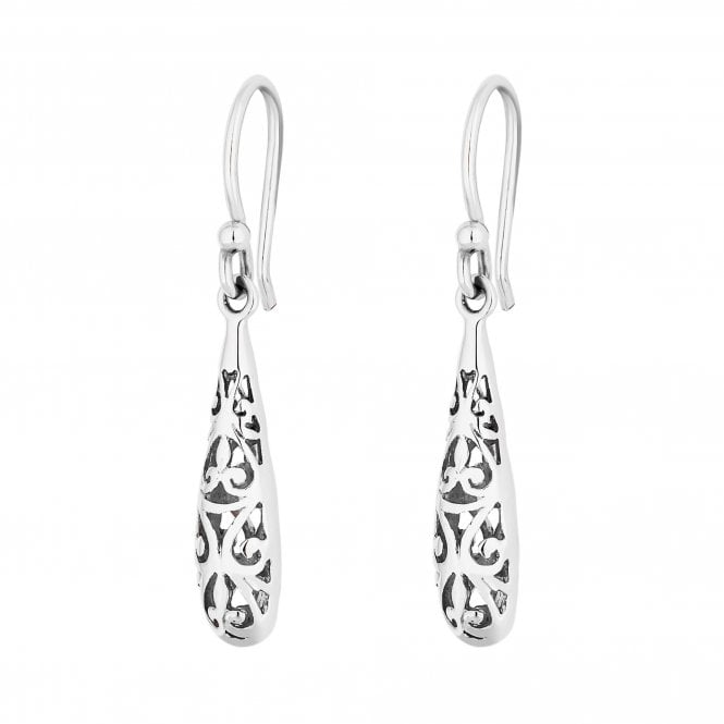 Image of Sterling Silver 925 Polished Filigree Caged Drop Earring