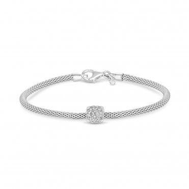 078cd31e13b Sterling Silver 925 Popcorn Cubic Zirconia Square Pave Charm Bracelet