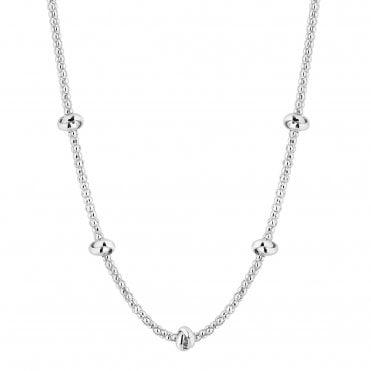 8e59ffa82d0 Sterling Silver 925 Popcorn Knot Station Allway Necklace