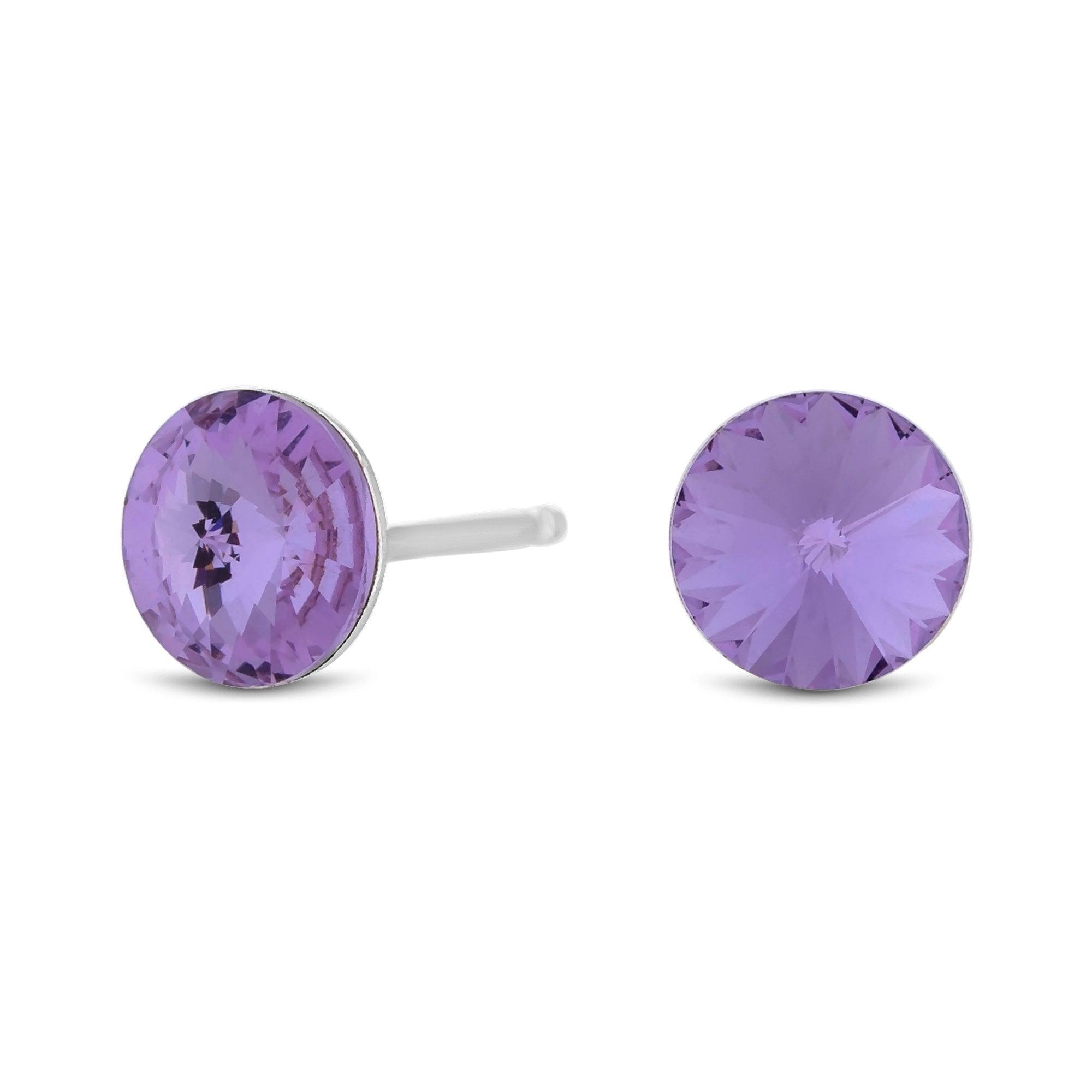 Sterling Silver 925 Purple Stud Earring Embellished With Swarovski Crystals
