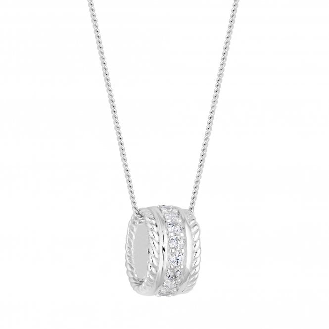 Image of Sterling Silver 925 Rope And Cubic Zirconia Barrel Pendant Necklace