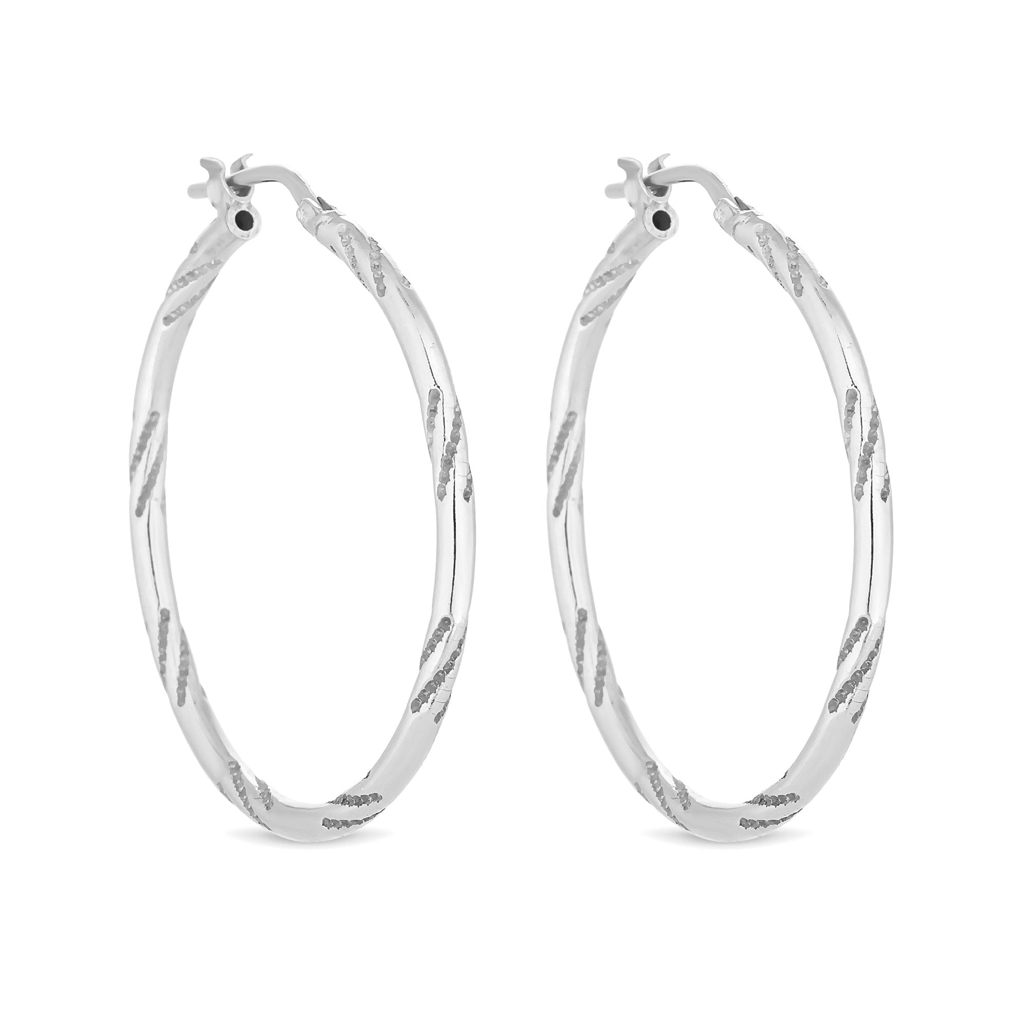 95db3ce92 Simply Silver Sterling Silver 925 Silver Bamboo Hoop Earring ...