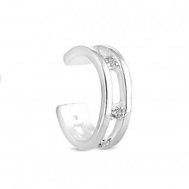 b876ddfe6 Sterling Silver 925 Silver Cubic Zirconia Station Ear Cuff Earring