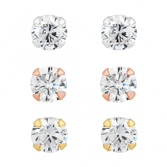 Sterling Silver 925 Tri-Tone Cubic Zirconia Stud Earring - Pack of 3