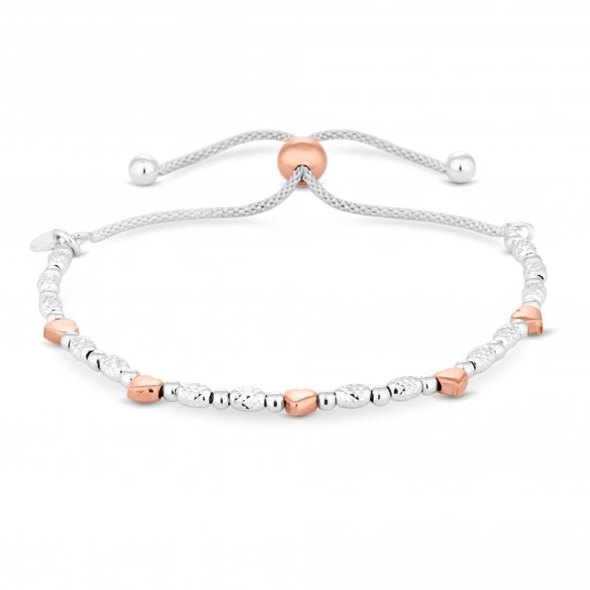 Sterling Silver 925 Two-Tone Heart Toggle Bracelet