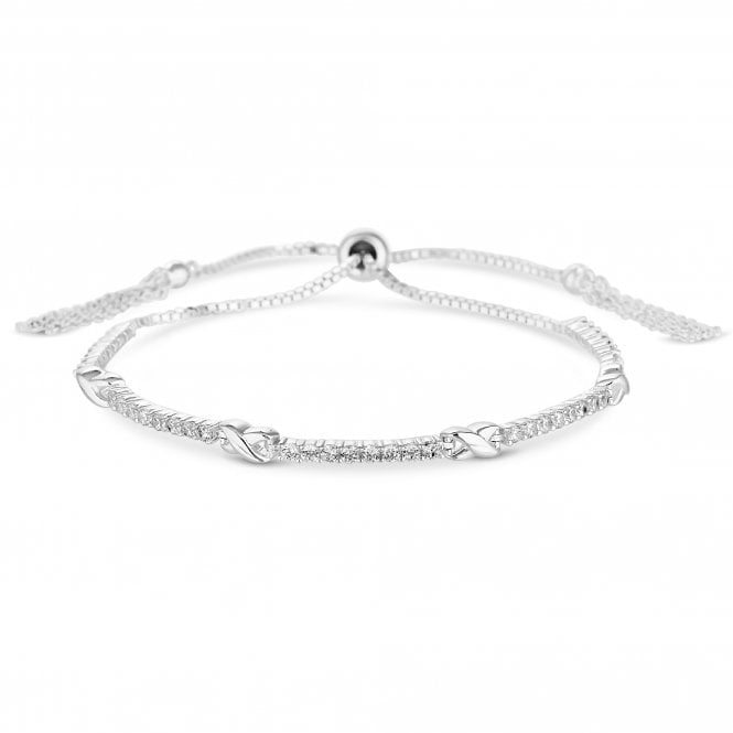 Sterling Silver 925 White Cubic Zirconia And Kiss Toggle Bracelet