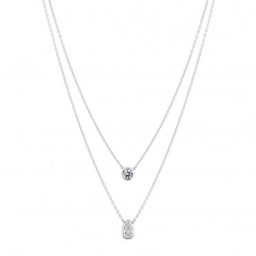 bfd92e5c5fd Sterling Silver 925 White Cubic Zirconia Double Besel Set Round And Pear  Allway Necklace