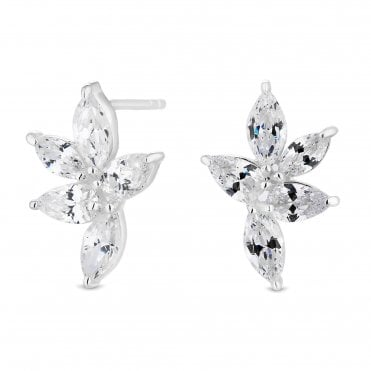8a9aed23a Sterling Silver 925 White Cubic Zirconia Flower Ear Climber Earring