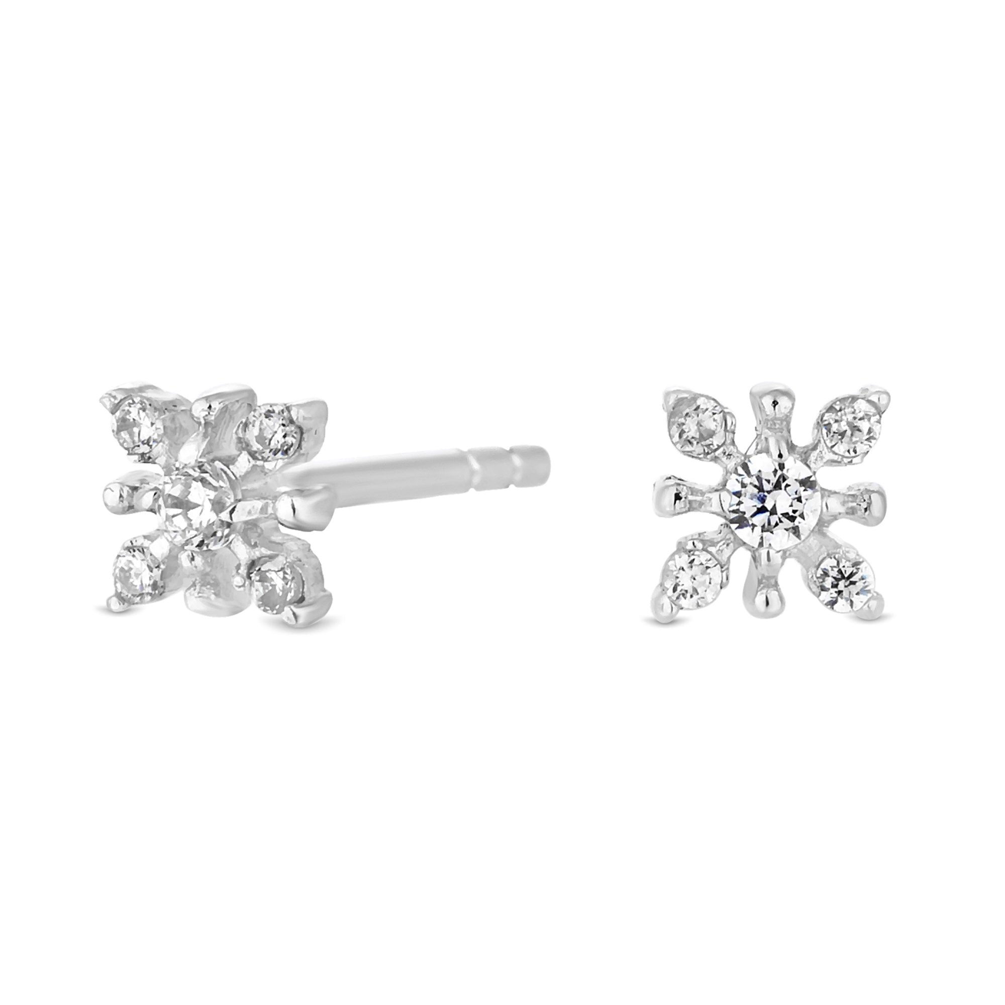 Silver Cubic Zirconia 4MM Parallel Setting Stud Earrings   Icing US