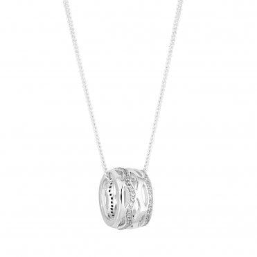 cbd17370ddf Sterling Silver 925 White Cubic Zirconia Interwoven Short Pendant Necklace