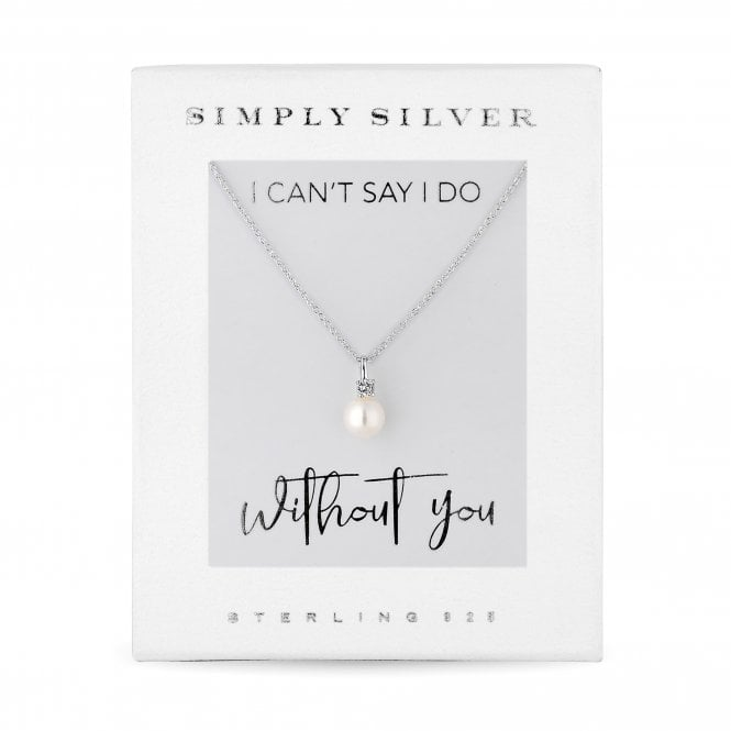 Sterling Silver 925 White Cubic Zirconia Short Pearl Pendant Necklace