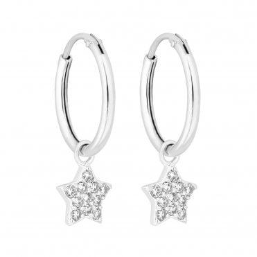 3478e2a0b Sterling Silver 925 White Cubic Zirconia Star Hoop Earring
