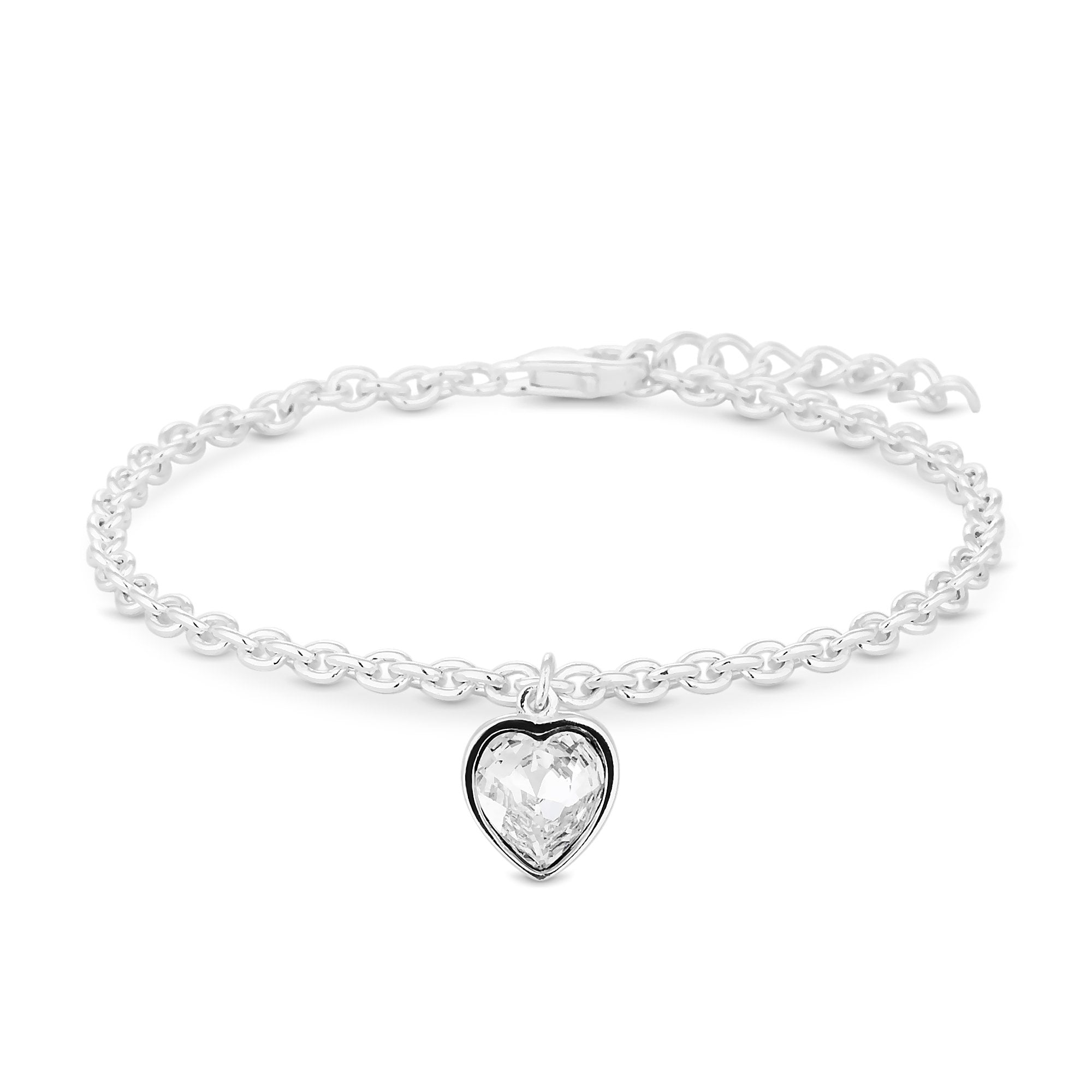 ff623e289d15 Simply Silver Sterling Silver 925 White Heart Bracelet Embellished With  Swarovski® Crystals