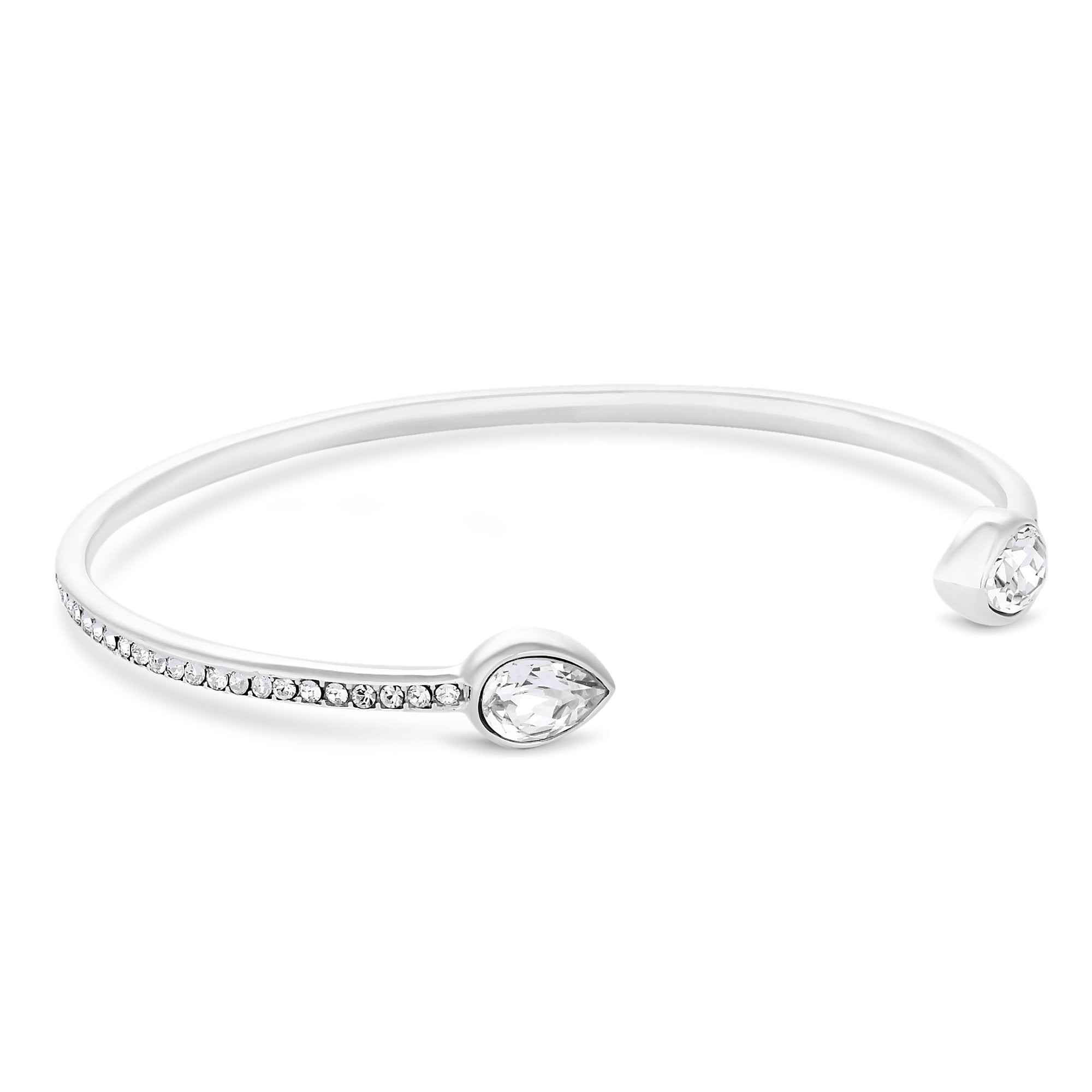 099ac90a3d75 Simply Silver Sterling Silver 925 White Pear Cut Cuff Bracelet Embellished  With Swarovski® Crystals