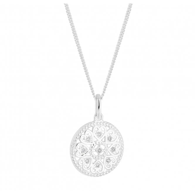 Sterling Silver And Cubic Zirconia Heart Disc Pendant Necklace