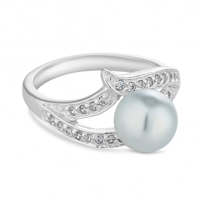 Sterling Silver Cubic Zirconia And Pearl Swirl Ring