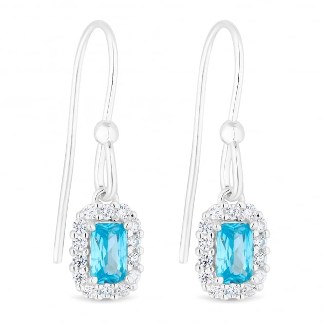 Simply Silver Sterling Silver Aqua Cubic Zirconia Halo Drop Earring