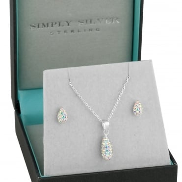 Sterling silver aurora borealis pave teardrop necklace and earring set