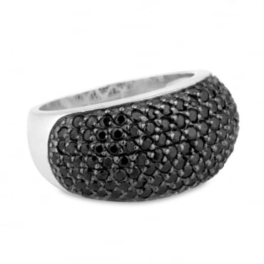 Sterling silver black cubic zirconia pave ring