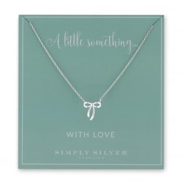 Sterling Silver Bow Necklace On