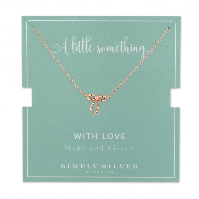 Simply Silver 14ct Rose Gold Plated Sterling Silver Bow Necklace On