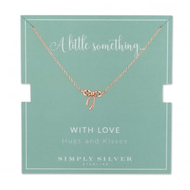 14ct Rose Gold Plated Sterling Silver Bow Necklace On